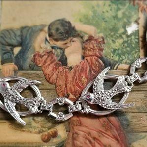 Vintage bird bracelet Sterling Silver marcasite